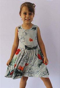 vestido infantil básico de malha katitus listrado e flores