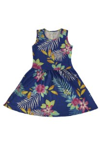 vestido infantil básico de malha katitus florido