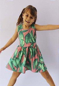 vestido infantil básico de malha katitus Flores