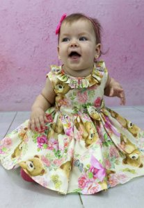 vestido Infantil de festa Katitus estampa de urso