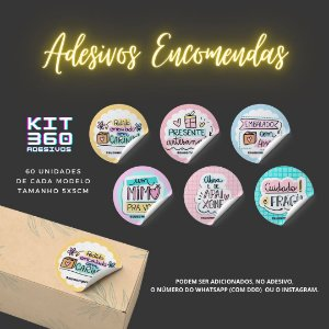 360 Adesivos - (60 adesivos de cada arte) - Kit Encomenda - Tamanho 5x5cm - Lacre/Caixa/Envelope/Encomenda/Sacolas