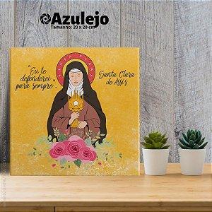 Santa Clara de Assis - AZULEJO TAMANHO 20 X 20 CENTÍMETROS, COM SUPORTE.