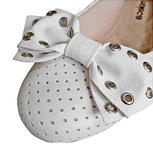 Sapatilha Feminina Branca Microperfuros Com Forro Marca Moleca Flexível Com Laço