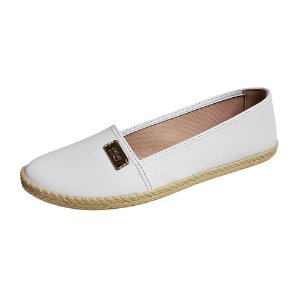 Sapatilha feminina branca fechada estilo alpargata palmilha confortavel