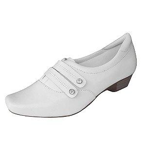 Sapato Branco Feminino Couro Neftali Enfermagem Area da Saude e Estetica Ref 3837