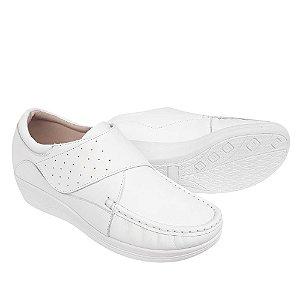 Sapato Feminino Branco Enfermagem Profissional Sola Alta Confort