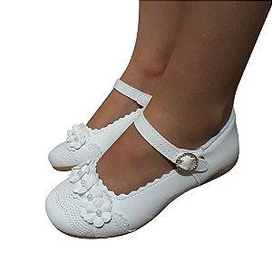 Sapato Sapatilha Branco Infantil Menina Batizado Daminha Noivinha Modelo Boneca