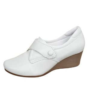 Sapato feminino branco salto anabela Neftali