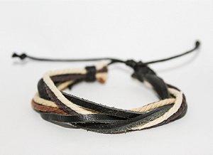 Pulseira em cordas e couro