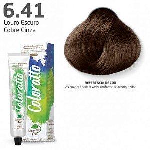 COLORAÇÃO SEM AMÔNIA COLORATTO 60G LOURO ESCURO COBRE CINZA 6.41