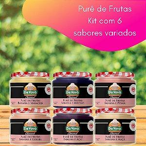 Purê de frutas: 100% fruta  - kit com 6 unidades