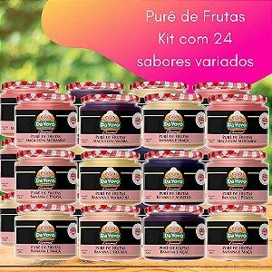 Purê de frutas: 100% fruta  - kit com 24 unidades