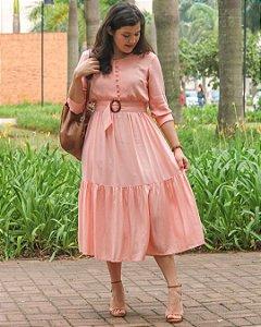 Vestido com Cinto Afivelado Rosê