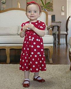 Vestido Infantil Poá Vermelho