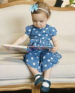 Vestido Infantil Poá Azul