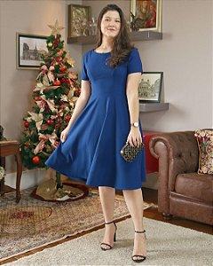 Vestido Godê Midi - Azul Royal