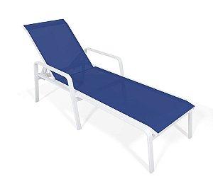 Espreguiçadeira Piscina Praia Alumínio Branco Tela Azul