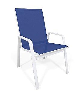 Cadeira Riviera Piscina Praia Alumínio Branco Tela Azul