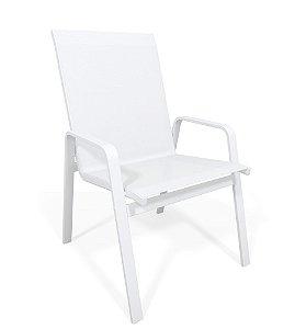 Cadeira Riviera Piscina Praia Alumínio Branco Tela Branco