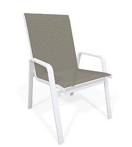 Cadeira Riviera Piscina Praia Alumínio Branco Tela Mescla