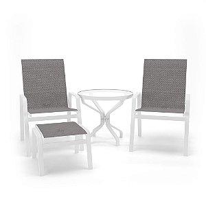 Conjunto 2 Cadeiras Mesa Juquey Alumínio Branco Tela Mescla