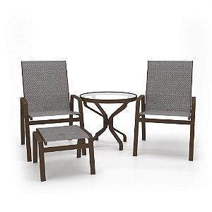 Conjunto 2 Cadeiras Mesa Juquey Alumínio Marrom Tela Mescla