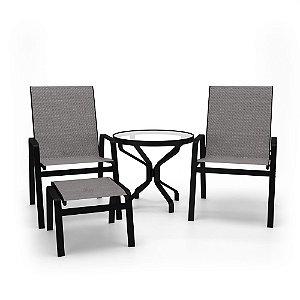 Conjunto 2 Cadeiras Mesa Juquey Alumínio Preto Tela Mescla