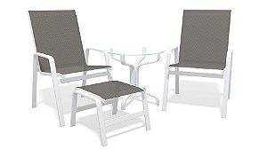 Conjunto 2 Cadeiras Mesa Riviera Alumínio Branco Tela  Mescla