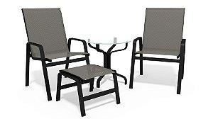 Conjunto 2 Cadeiras Mesa Riviera Alumínio Preto Tela  Mescla