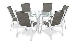 Conjunto 6 Cadeiras Alumínio Branco Tela  Mescla