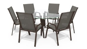 Conjunto 6 Cadeiras Alumínio Marrom Tela  Mescla
