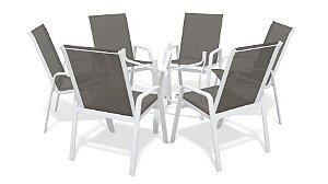 Conjunto 6 Cadeiras S/ Vidro Alumínio Branco Tela  Mescla