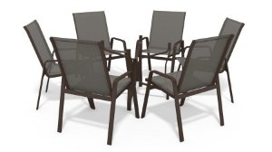 Conjunto 6 Cadeiras S/ Vidro Alumínio Marrom Tela  Mescla