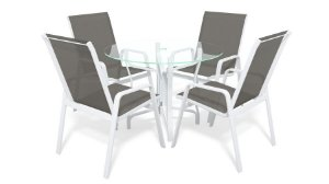 Conjunto de 4 Cadeiras Alumínio Branco Tela  Mescla