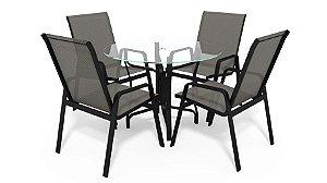 Conjunto de 4 Cadeiras Alumínio Preto Tela  Mescla