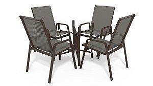 Conjunto de 4 Cadeiras S/ Vidro Alumínio Marrom Tela  Mescla