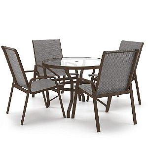 Conjunto de 4 Cadeiras Vidro Juquey Alumínio Marrom Tela Mescla