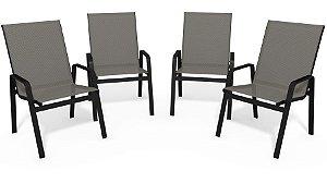 Kit 4 Cadeira Riviera Piscina Alumínio Preto Tela Mescla