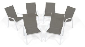 Kit 6 Cadeira Riviera Piscina Alumínio Branco Tela Mescla