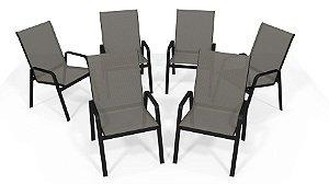Kit 6 Cadeira Riviera Piscina Alumínio Preto Tela Mescla