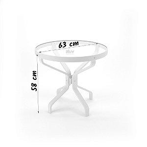 Mesa lateral Juquey Vidro 63 cm Aro e Borda Alumínio Branco