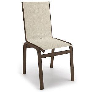 Cadeira Jantar Área Gourmet Alumínio Marrom Tela Crepe