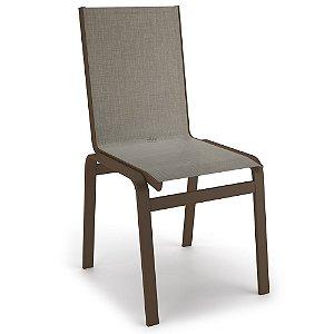 Cadeira Jantar Área Gourmet Alumínio Marrom Tela Mocca