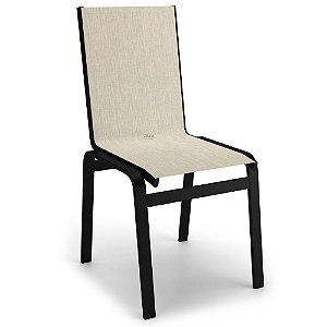 Cadeira Jantar Área Gourmet Alumínio Preto Tela Crepe