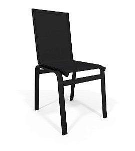 Cadeira Jantar Área Gourmet Alumínio Preto Tela Preto