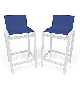Kit 2 Banquetas Altas bancada Alumínio Branco Azul