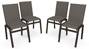 Kit 4 Cadeira Jantar Gourmet Alumínio Marrom Tela Mescla