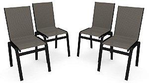 Kit 4 Cadeira Jantar Gourmet Alumínio Preto Tela Mescla