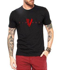 Camiseta Vikings Masculina Preta Série Seriado - Personalizadas/ Customizadas/ Estampadas/ Camiseteria/ Estamparia/ Estampar/ Personalizar/