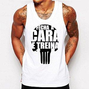 Camiseta Masculina Regata Frases Academia Fecha a Cara e Treina Malhação Body Build bodybuilder